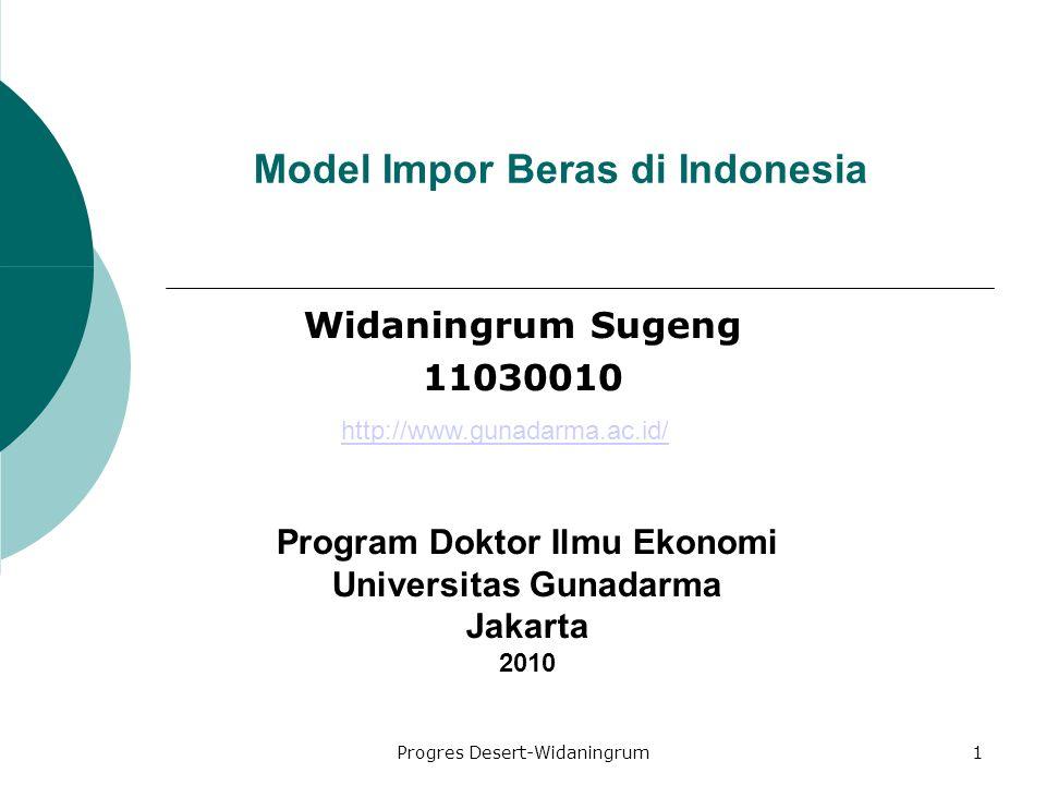 Progres Desert-Widaningrum1 Model Impor Beras di Indonesia Widaningrum Sugeng 11030010 Program Doktor Ilmu Ekonomi Universitas Gunadarma Jakarta 2010 http://www.gunadarma.ac.id/