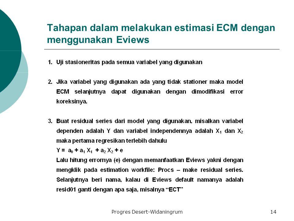 Progres Desert-Widaningrum14 Tahapan dalam melakukan estimasi ECM dengan menggunakan Eviews