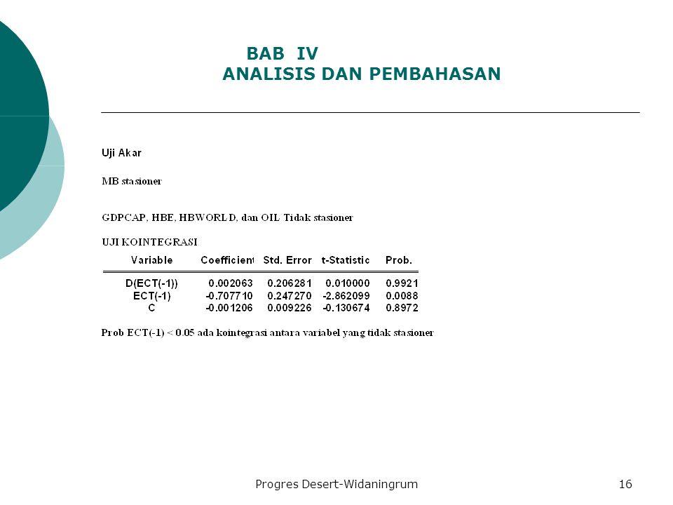 Progres Desert-Widaningrum16 BAB IV ANALISIS DAN PEMBAHASAN
