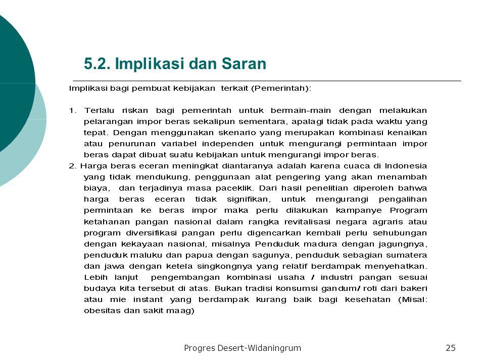Progres Desert-Widaningrum25 5.2. Implikasi dan Saran