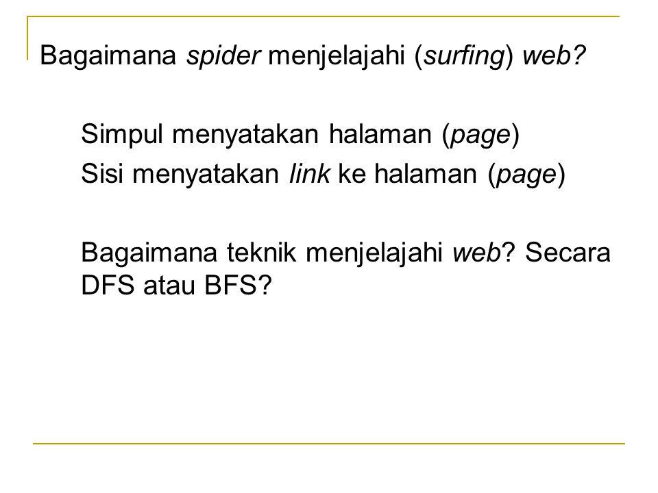 Bagaimana spider menjelajahi (surfing) web? Simpul menyatakan halaman (page) Sisi menyatakan link ke halaman (page) Bagaimana teknik menjelajahi web?