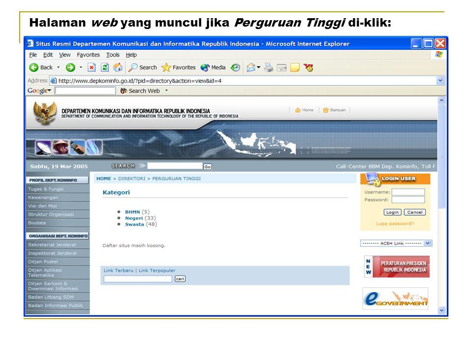 Halaman web yang muncul jika Perguruan Tinggi di-klik: