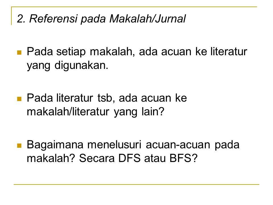 2. Referensi pada Makalah/Jurnal Pada setiap makalah, ada acuan ke literatur yang digunakan. Pada literatur tsb, ada acuan ke makalah/literatur yang l