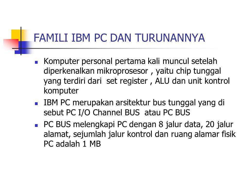 FAMILI IBM PC DAN TURUNANNYA Komputer personal pertama kali muncul setelah diperkenalkan mikroprosesor, yaitu chip tunggal yang terdiri dari set regis