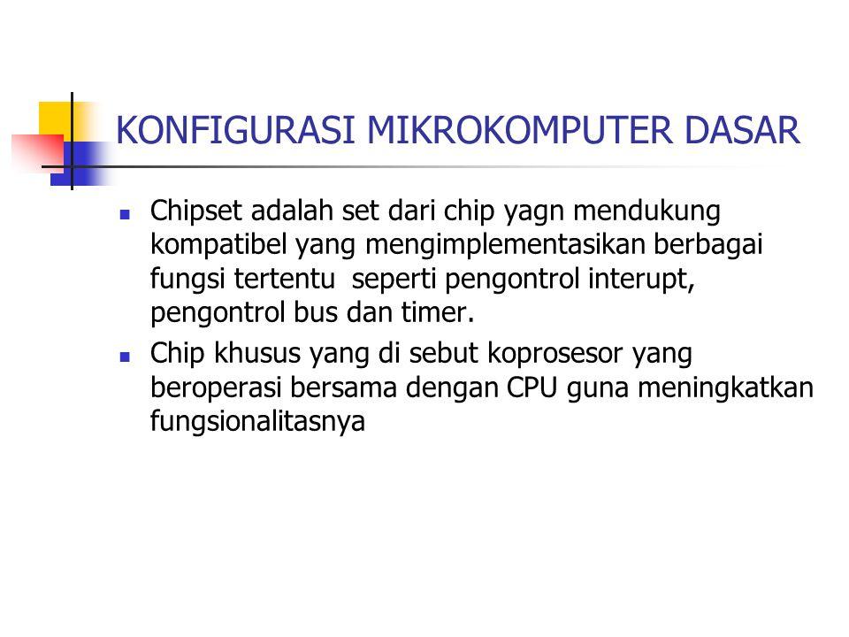 KONFIGURASI MIKROKOMPUTER DASAR Chipset adalah set dari chip yagn mendukung kompatibel yang mengimplementasikan berbagai fungsi tertentu seperti pengo