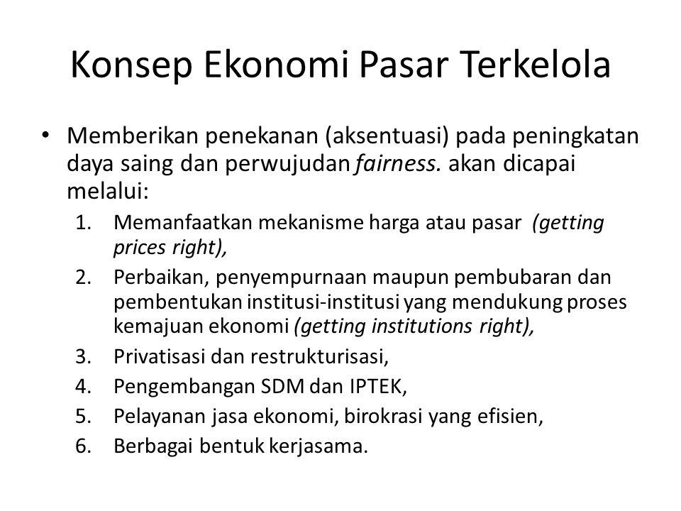 Konsep Ekonomi Pasar Terkelola Memberikan penekanan (aksentuasi) pada peningkatan daya saing dan perwujudan fairness. akan dicapai melalui: 1.Memanfaa