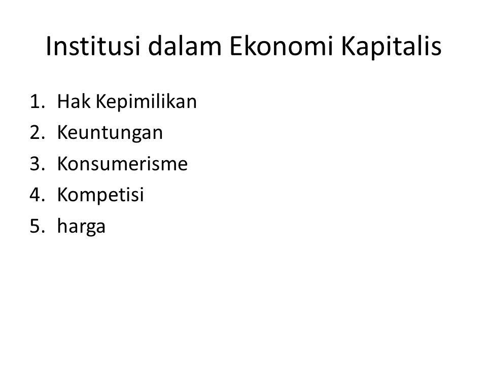 Institusi dalam Ekonomi Kapitalis 1.Hak Kepimilikan 2.Keuntungan 3.Konsumerisme 4.Kompetisi 5.harga