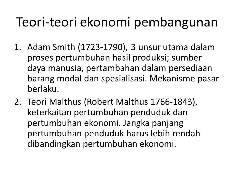 Teori-teori ekonomi pembangunan 1.Adam Smith (1723-1790), 3 unsur utama dalam proses pertumbuhan hasil produksi; sumber daya manusia, pertambahan dala