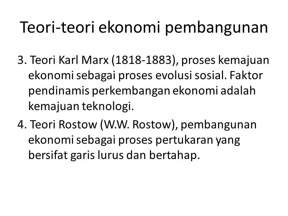 Teori-teori ekonomi pembangunan 3. Teori Karl Marx (1818-1883), proses kemajuan ekonomi sebagai proses evolusi sosial. Faktor pendinamis perkembangan