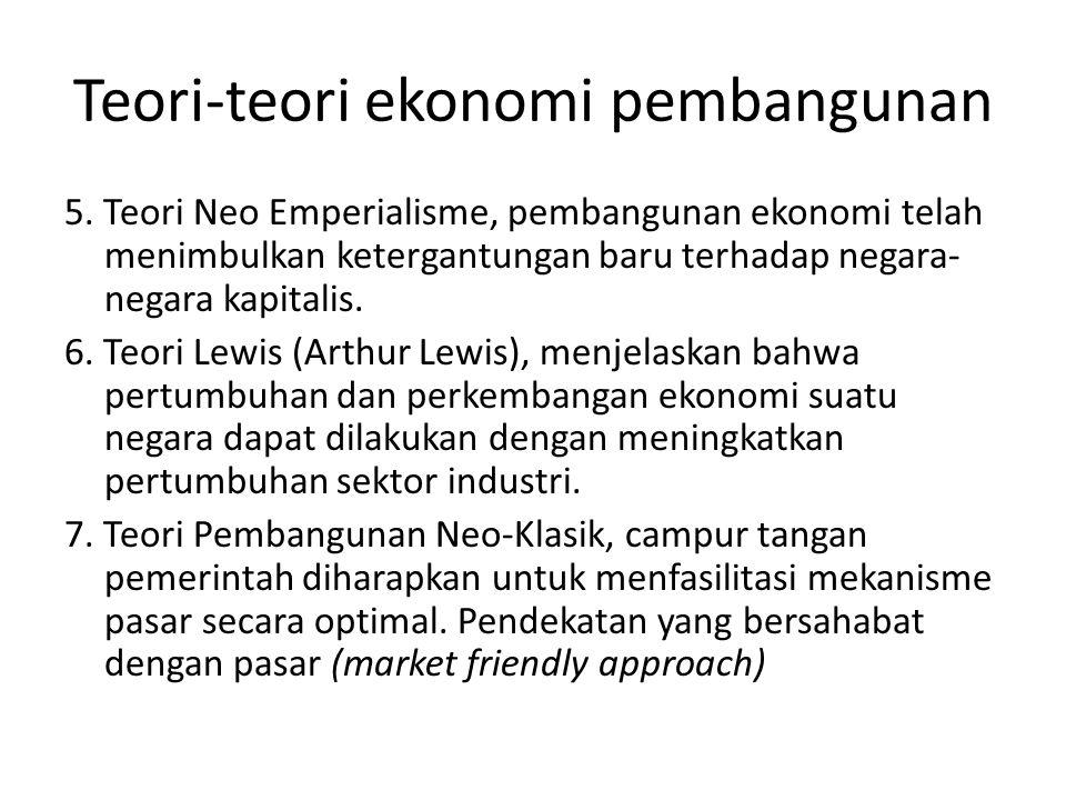 Teori-teori ekonomi pembangunan 5. Teori Neo Emperialisme, pembangunan ekonomi telah menimbulkan ketergantungan baru terhadap negara- negara kapitalis
