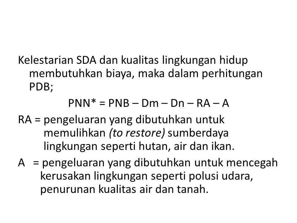 Kelestarian SDA dan kualitas lingkungan hidup membutuhkan biaya, maka dalam perhitungan PDB; PNN* = PNB – Dm – Dn – RA – A RA = pengeluaran yang dibut