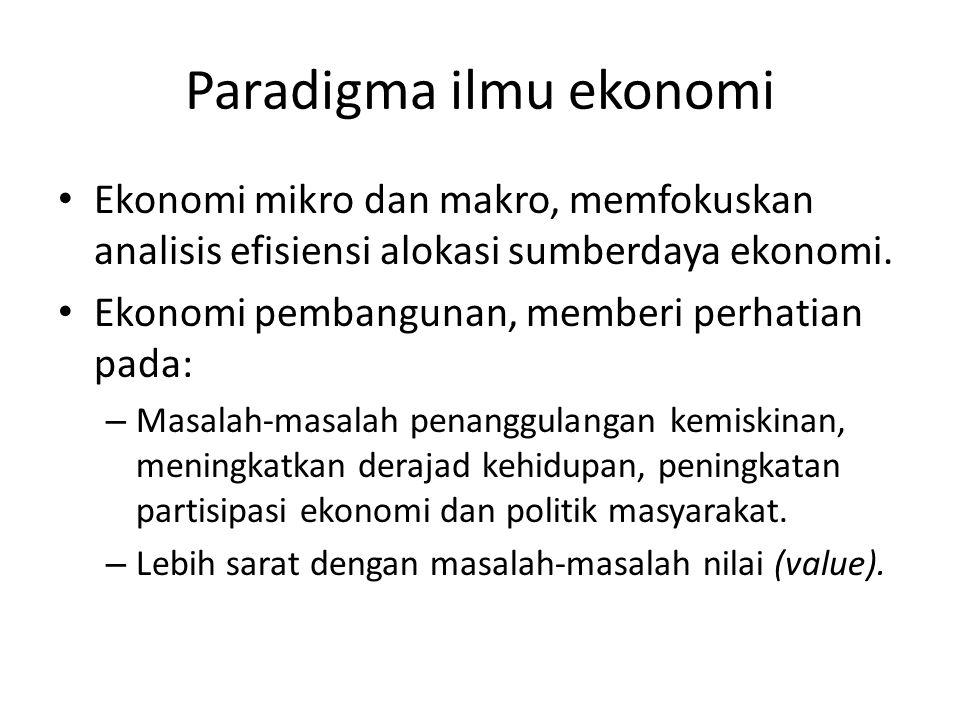 Paradigma ilmu ekonomi Ekonomi mikro dan makro, memfokuskan analisis efisiensi alokasi sumberdaya ekonomi. Ekonomi pembangunan, memberi perhatian pada