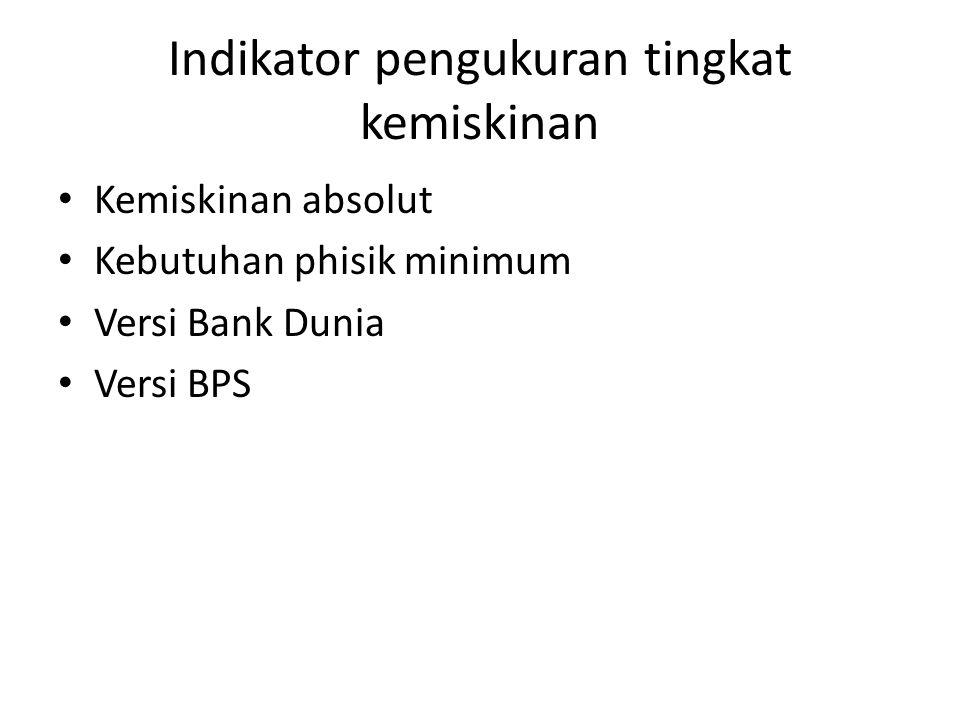 Indikator pengukuran tingkat kemiskinan Kemiskinan absolut Kebutuhan phisik minimum Versi Bank Dunia Versi BPS