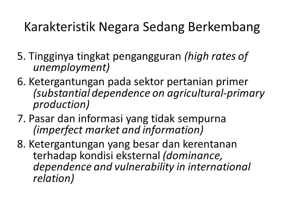 Karakteristik Negara Sedang Berkembang 5. Tingginya tingkat pengangguran (high rates of unemployment) 6. Ketergantungan pada sektor pertanian primer (