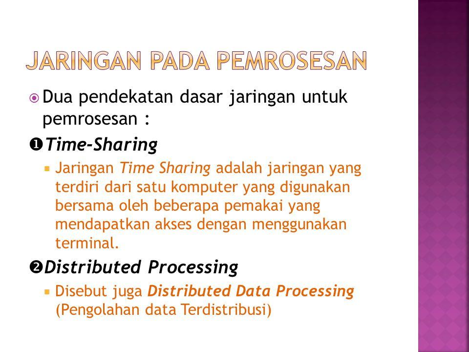  Dua pendekatan dasar jaringan untuk pemrosesan :  Time-Sharing  Jaringan Time Sharing adalah jaringan yang terdiri dari satu komputer yang digunakan bersama oleh beberapa pemakai yang mendapatkan akses dengan menggunakan terminal.