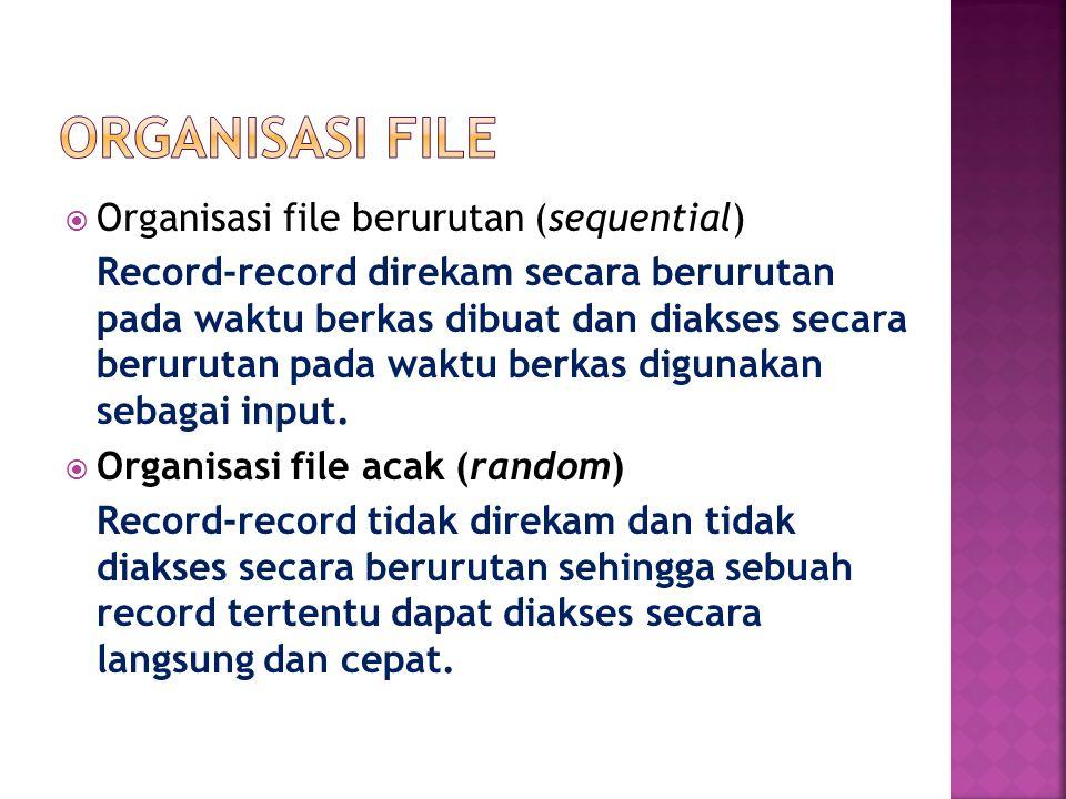  Organisasi file berurutan (sequential) Record-record direkam secara berurutan pada waktu berkas dibuat dan diakses secara berurutan pada waktu berkas digunakan sebagai input.