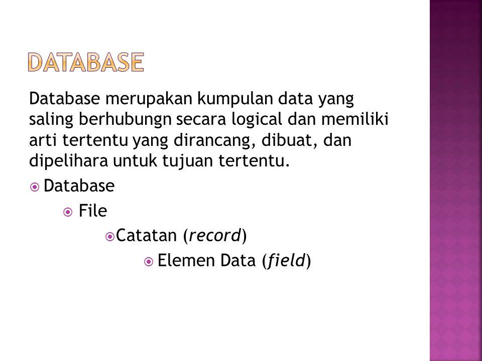 Database merupakan kumpulan data yang saling berhubungn secara logical dan memiliki arti tertentu yang dirancang, dibuat, dan dipelihara untuk tujuan