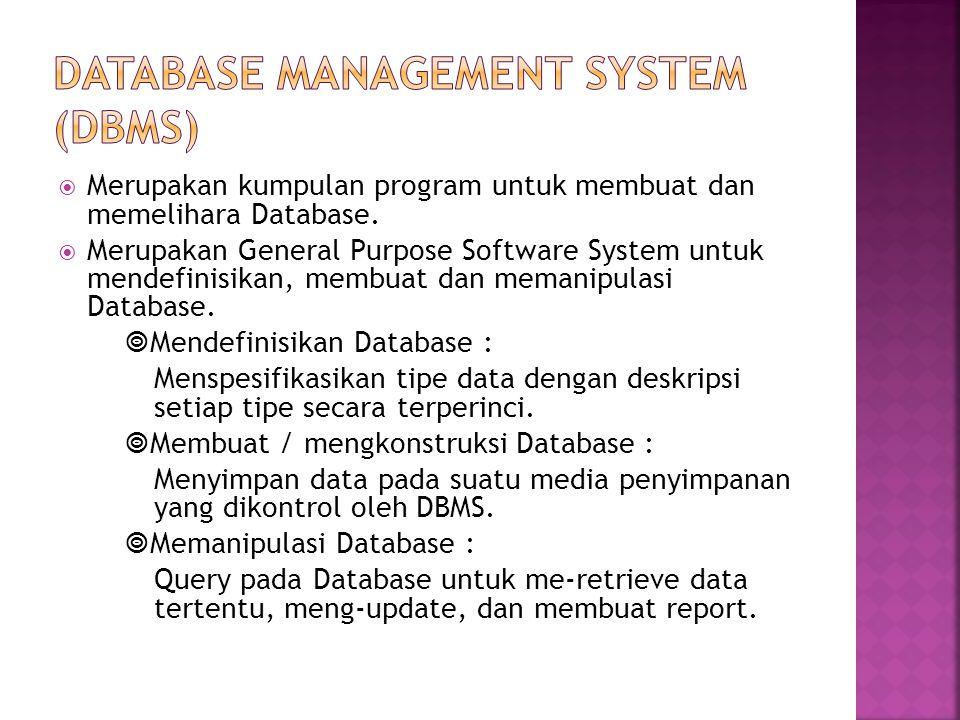  Merupakan kumpulan program untuk membuat dan memelihara Database.  Merupakan General Purpose Software System untuk mendefinisikan, membuat dan mema