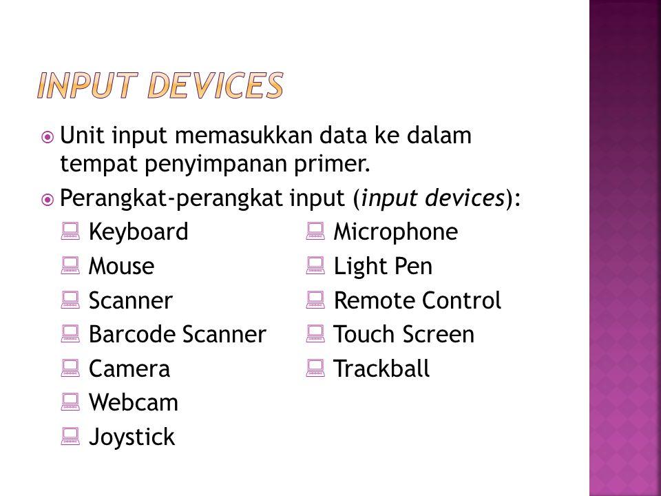  Unit input memasukkan data ke dalam tempat penyimpanan primer.  Perangkat-perangkat input (input devices):  Keyboard  Microphone  Mouse  Light