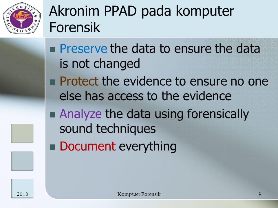 Prinsip IOCE Konsisten terhadap sistem perundangan Menggunakan bahan umum Berdaya tahan Berkemampuan untuk melewati batas – batas internasional Mampu menanamkan keyakinan terhadap untegritas evidence Dapat diaplikasikan pada setiap forensic evidence Aplikatif untuk setiap tingkatan mencakup individual, organisasi dan negara 201020Komputer Forensik