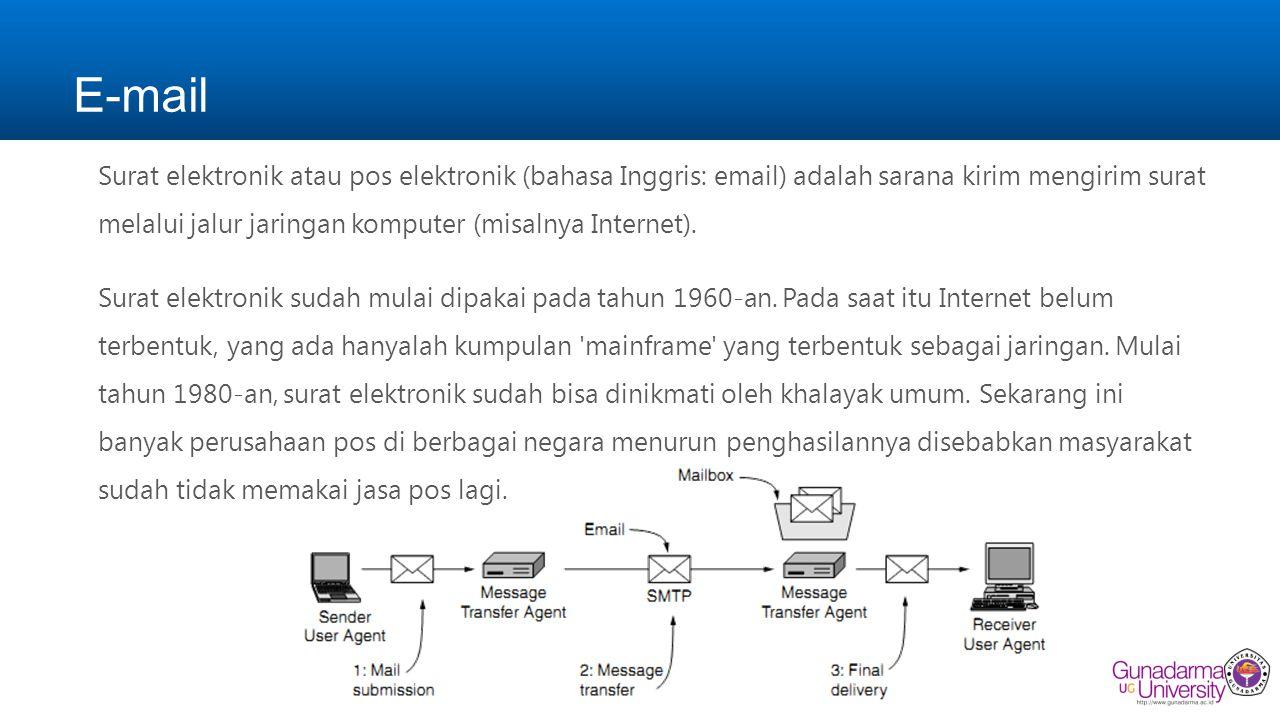 E-mail Surat elektronik atau pos elektronik (bahasa Inggris: email) adalah sarana kirim mengirim surat melalui jalur jaringan komputer (misalnya Internet).