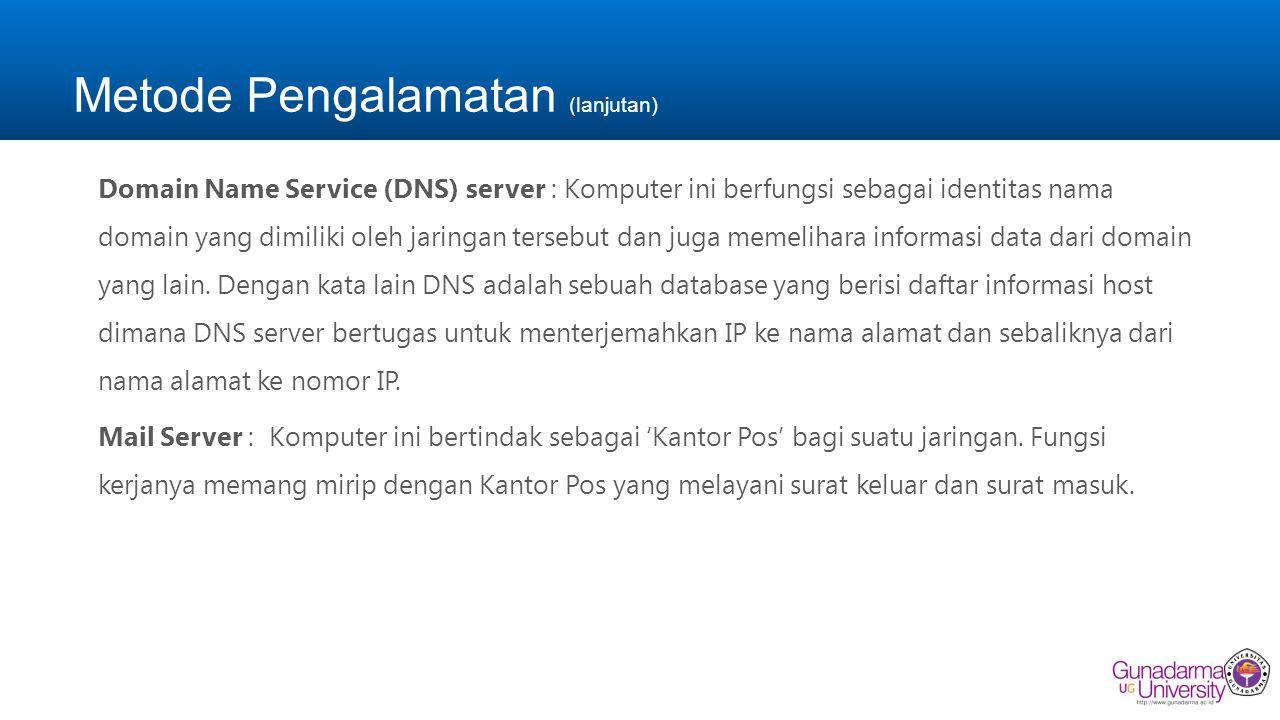 Metode Pengalamatan (lanjutan) Domain Name Service (DNS) server : Komputer ini berfungsi sebagai identitas nama domain yang dimiliki oleh jaringan ter