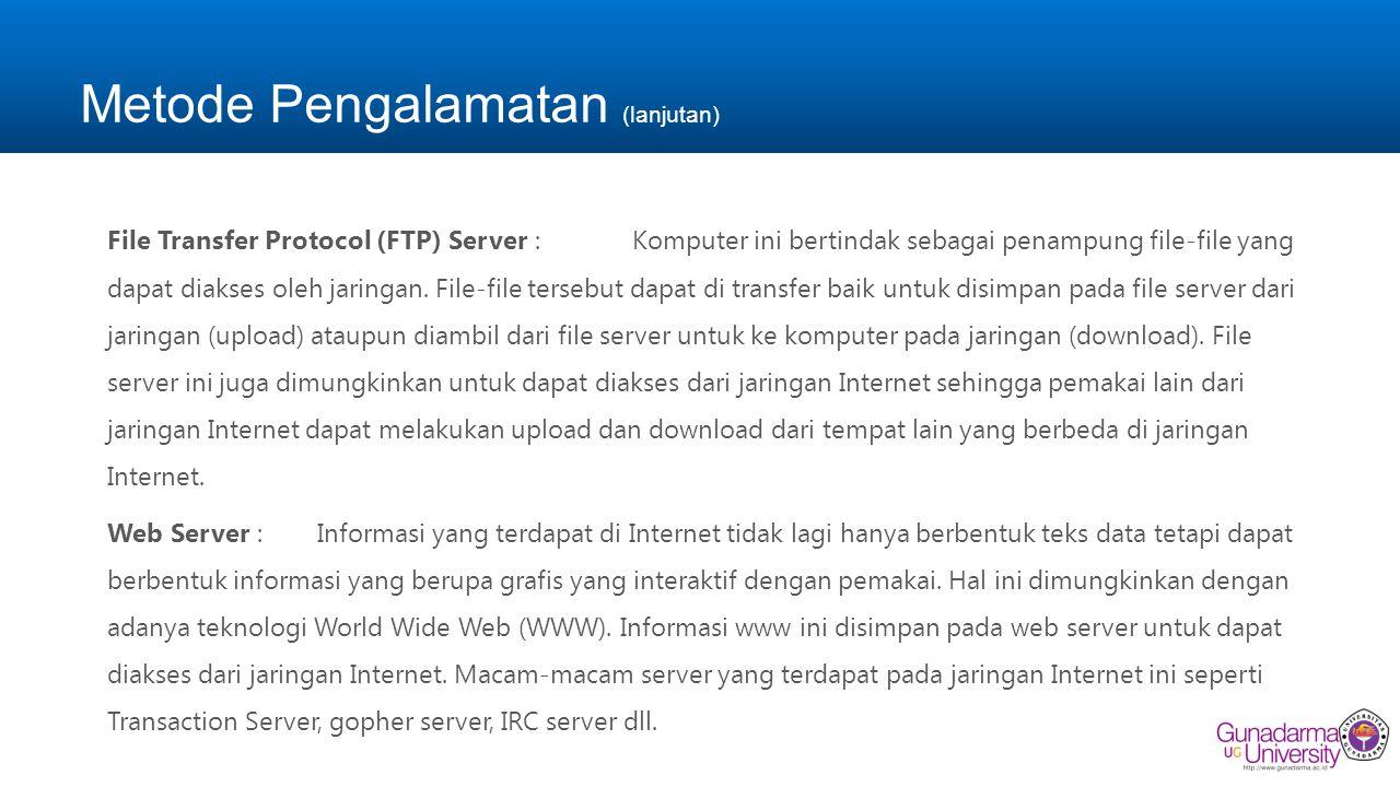 Metode Pengalamatan (lanjutan) File Transfer Protocol (FTP) Server :Komputer ini bertindak sebagai penampung file-file yang dapat diakses oleh jaringa