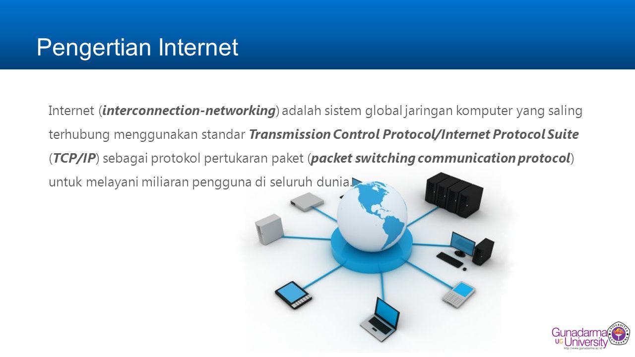 Sejarah Internet Internet merupakan jaringan komputer yang dibentuk oleh Departemen Pertahanan Amerika Serikat pada tahun 1969, melalui proyek ARPA yang disebut ARPANET (Advanced Research Project Agency Network), di mana mereka mendemonstrasikan bagaimana dengan hardware dan software komputer yang berbasis UNIX, kita bisa melakukan komunikasi dalam jarak yang tidak terhingga melalui saluran telepon.