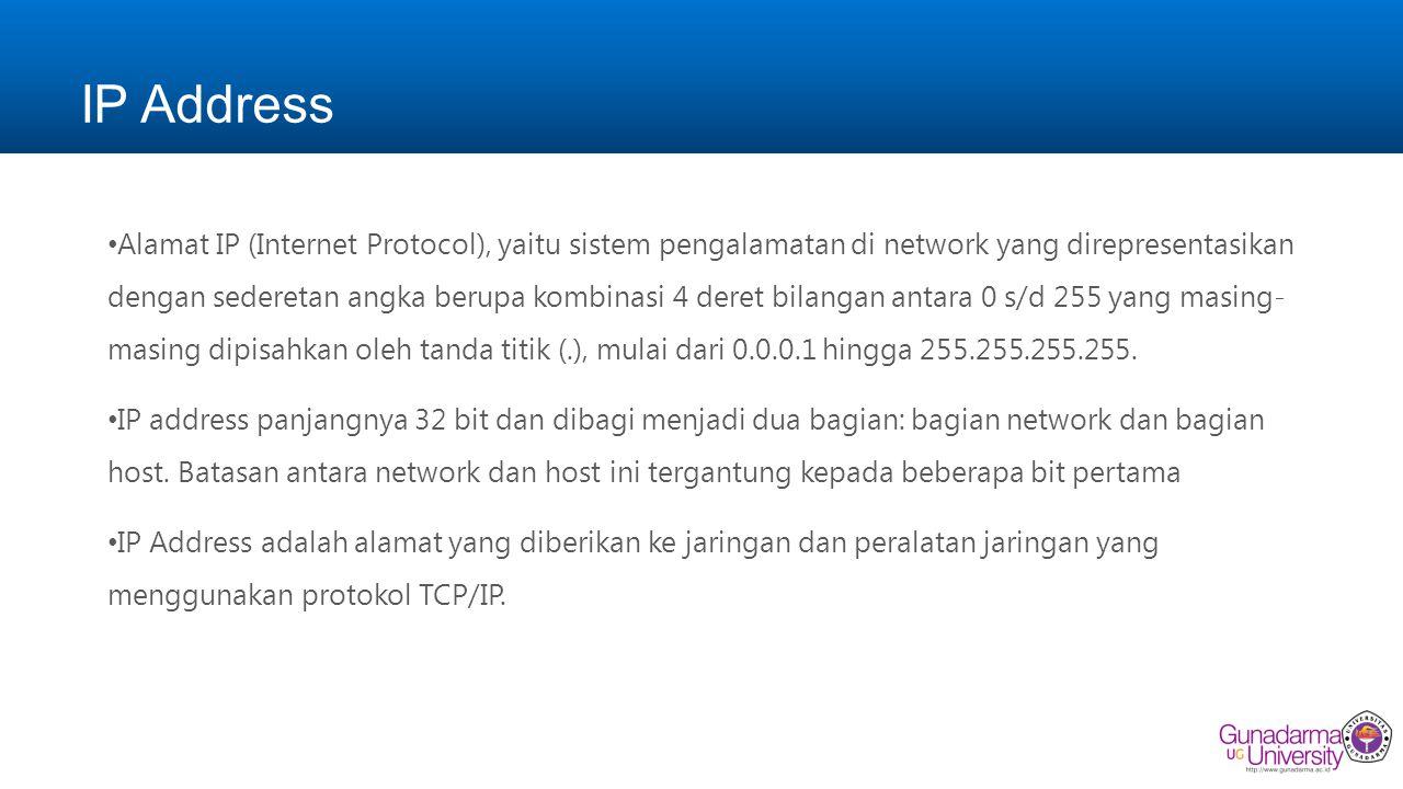 IP Address Alamat IP (Internet Protocol), yaitu sistem pengalamatan di network yang direpresentasikan dengan sederetan angka berupa kombinasi 4 deret