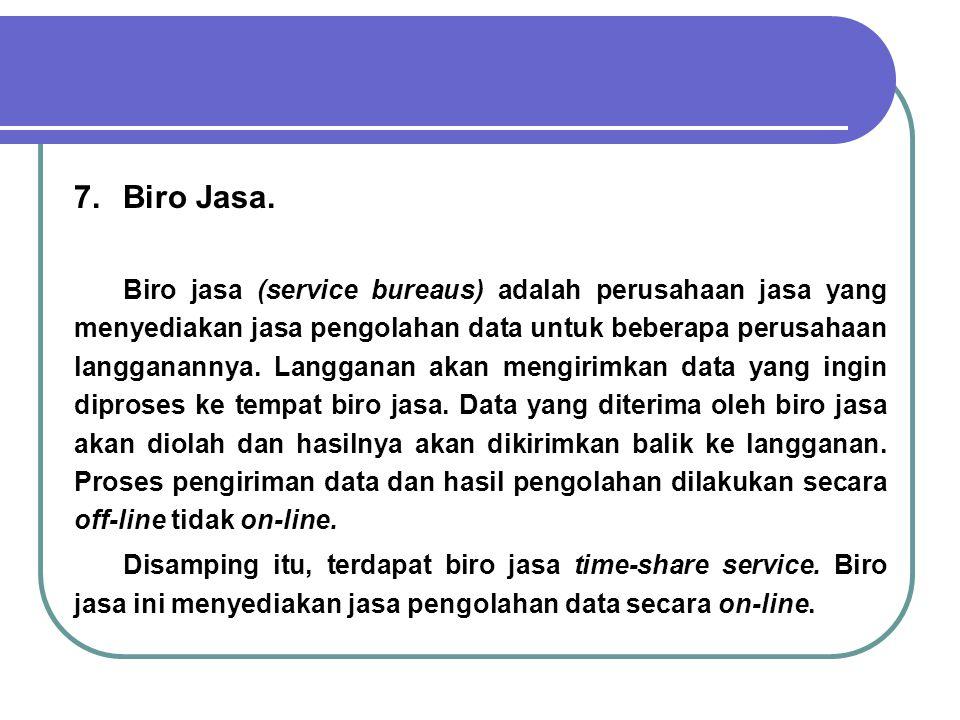 7.Biro Jasa. Biro jasa (service bureaus) adalah perusahaan jasa yang menyediakan jasa pengolahan data untuk beberapa perusahaan langganannya. Langgana