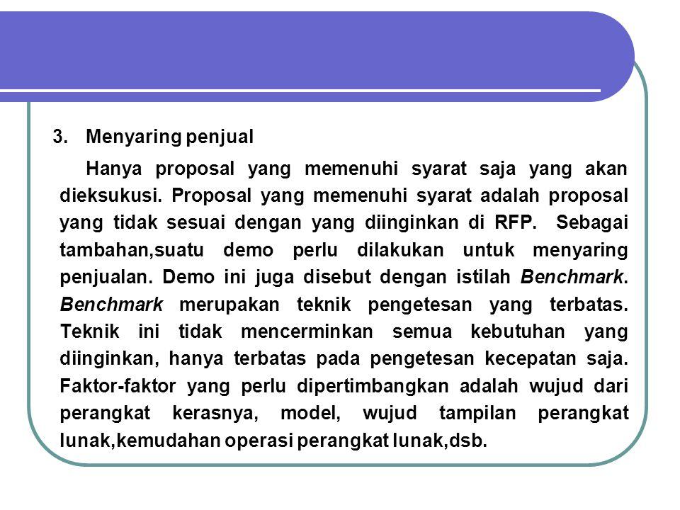 3.Menyaring penjual Hanya proposal yang memenuhi syarat saja yang akan dieksukusi. Proposal yang memenuhi syarat adalah proposal yang tidak sesuai den