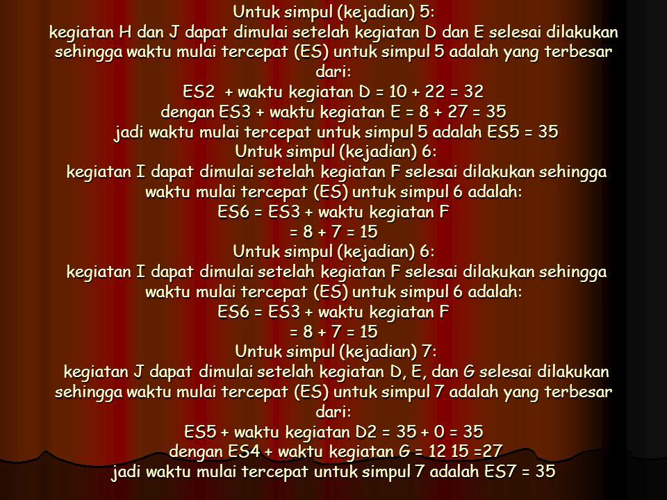 Untuk simpul (kejadian) 5: kegiatan H dan J dapat dimulai setelah kegiatan D dan E selesai dilakukan sehingga waktu mulai tercepat (ES) untuk simpul 5