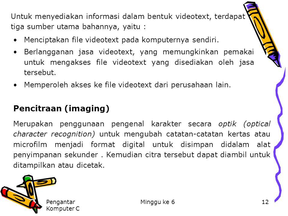 Pengantar Komputer C Minggu ke 612 Untuk menyediakan informasi dalam bentuk videotext, terdapat tiga sumber utama bahannya, yaitu : Menciptakan file v