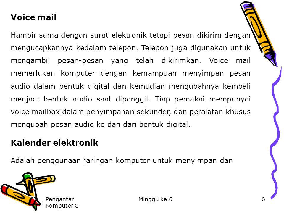 Pengantar Komputer C Minggu ke 66 Voice mail Hampir sama dengan surat elektronik tetapi pesan dikirim dengan mengucapkannya kedalam telepon. Telepon j