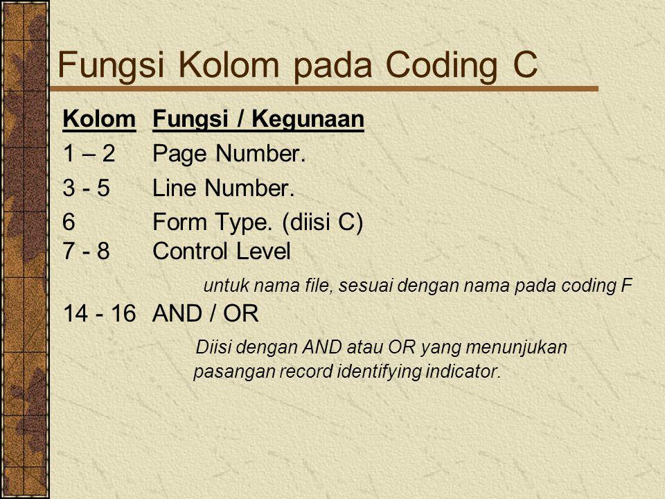 Fungsi Kolom pada Coding C KolomFungsi / Kegunaan 1 – 2Page Number. 3 - 5 Line Number. 6 Form Type. (diisi C) 7 - 8Control Level untuk nama file, sesu