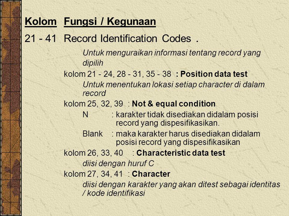 KolomFungsi / Kegunaan 21 - 41Record Identification Codes. Untuk menguraikan informasi tentang record yang dipilih kolom 21 - 24, 28 - 31, 35 - 38 : P