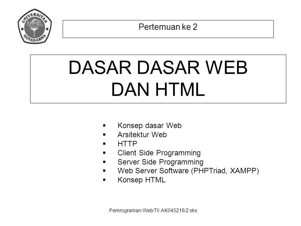 Pemrograman Web/TI/ AK045216/2 sks Pertemuan ke 2 DASAR DASAR WEB DAN HTML  Konsep dasar Web  Arsitektur Web  HTTP  Client Side Programming  Serv