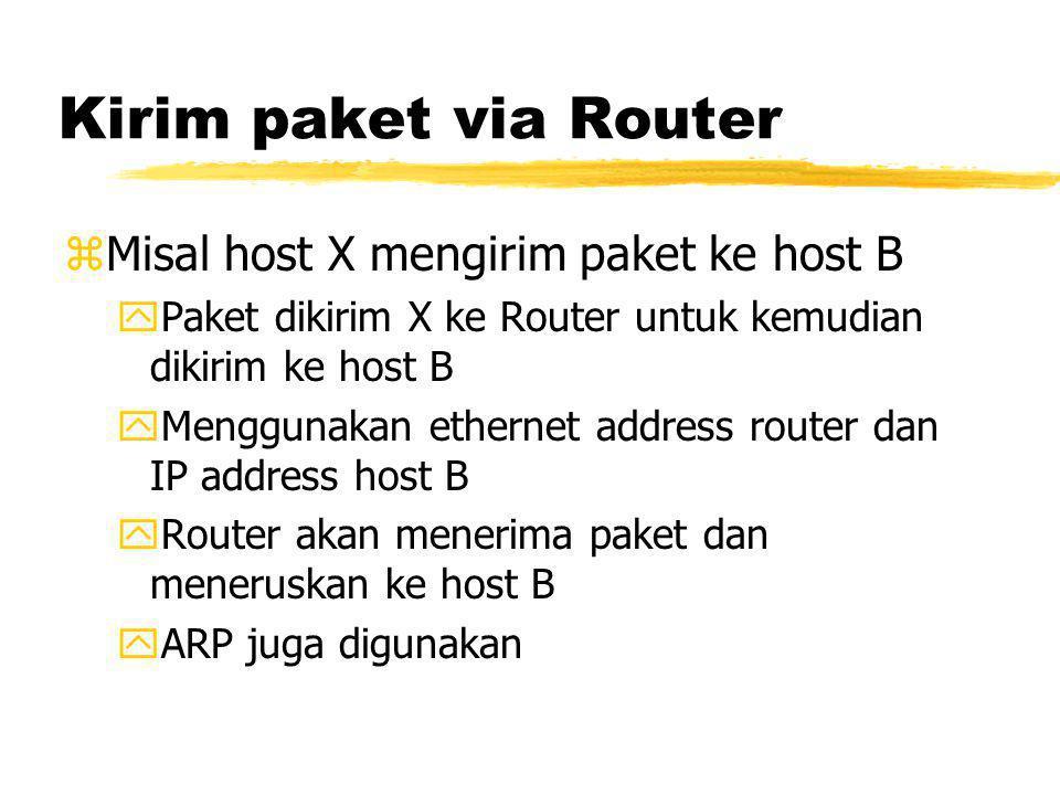 Kirim paket via Router zMisal host X mengirim paket ke host B yPaket dikirim X ke Router untuk kemudian dikirim ke host B yMenggunakan ethernet address router dan IP address host B yRouter akan menerima paket dan meneruskan ke host B yARP juga digunakan