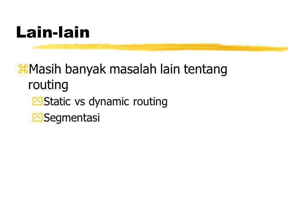 Lain-lain zMasih banyak masalah lain tentang routing yStatic vs dynamic routing ySegmentasi