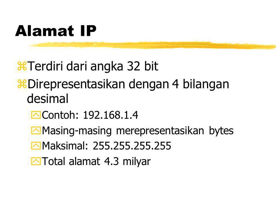 Alamat IP zTerdiri dari angka 32 bit zDirepresentasikan dengan 4 bilangan desimal yContoh: 192.168.1.4 yMasing-masing merepresentasikan bytes yMaksimal: 255.255.255.255 yTotal alamat 4.3 milyar