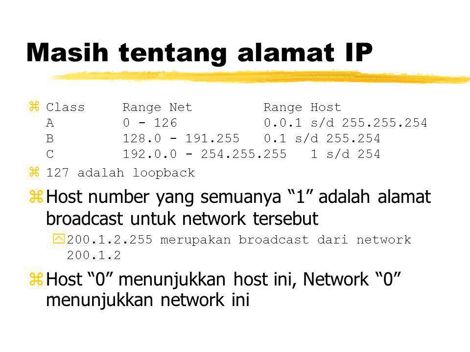 Masih tentang alamat IP zClassRange NetRange Host A0 - 1260.0.1 s/d 255.255.254 B128.0 - 191.2550.1 s/d 255.254 C192.0.0 - 254.255.2551 s/d 254 z127 adalah loopback zHost number yang semuanya 1 adalah alamat broadcast untuk network tersebut y200.1.2.255 merupakan broadcast dari network 200.1.2 zHost 0 menunjukkan host ini, Network 0 menunjukkan network ini