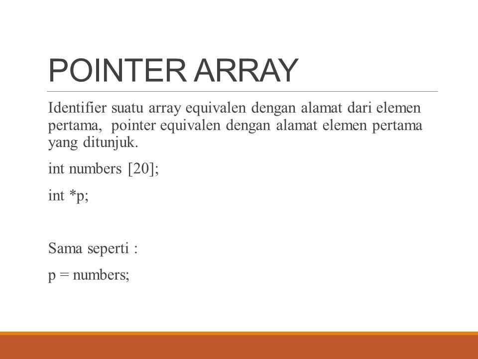 POINTER ARRAY Identifier suatu array equivalen dengan alamat dari elemen pertama, pointer equivalen dengan alamat elemen pertama yang ditunjuk. int nu