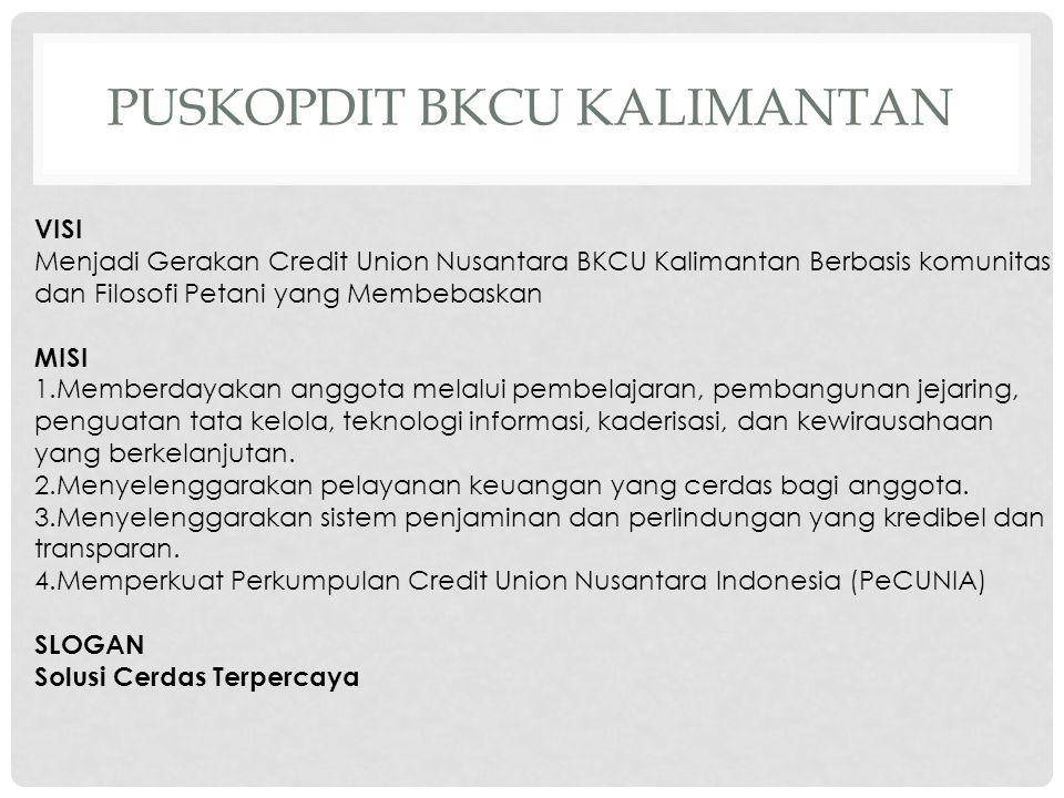 ANGGOTA PUSKOPDIT BKCU KALIMANTAN 46 Credit Union yang tersebar di wilayah Kalimantan, Jawa, Sulawesi, Nusa Tenggara, Maluku dan Papua Total anggota CU : 300.000 orang Total Managemen 800 orang
