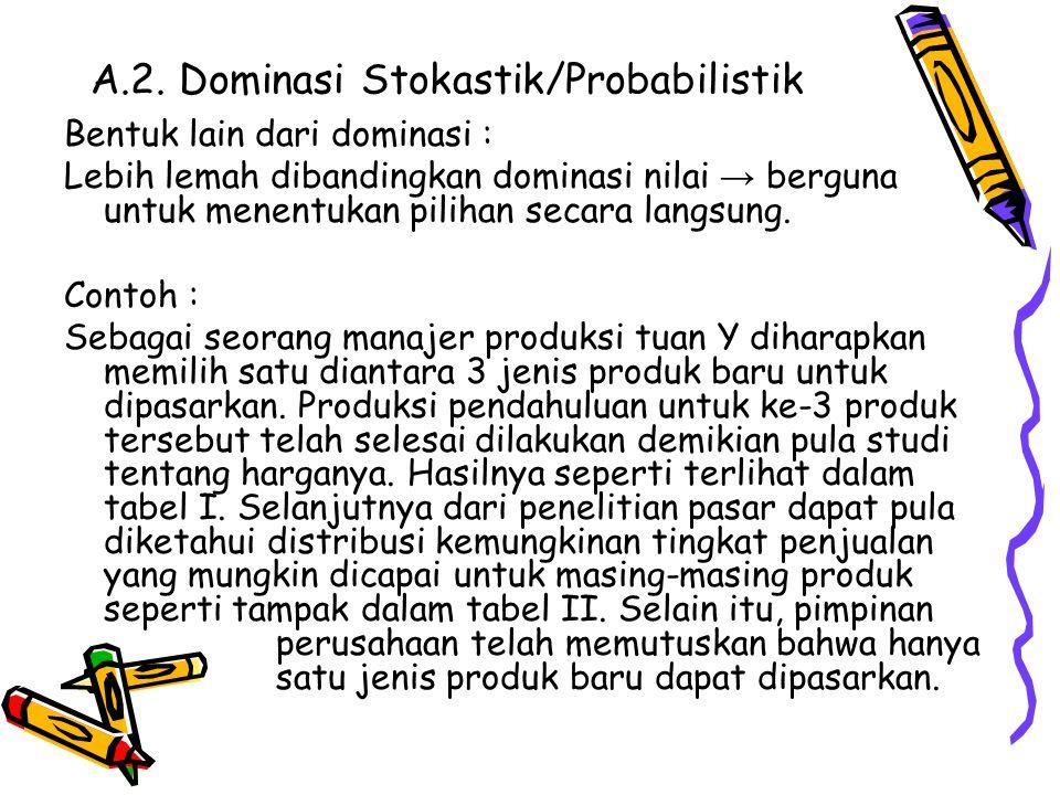 A.2. Dominasi Stokastik/Probabilistik Bentuk lain dari dominasi : Lebih lemah dibandingkan dominasi nilai → berguna untuk menentukan pilihan secara la