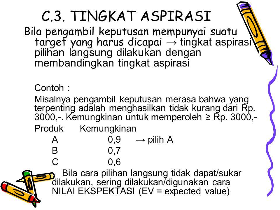 C.3. TINGKAT ASPIRASI Bila pengambil keputusan mempunyai suatu target yang harus dicapai → tingkat aspirasi → pilihan langsung dilakukan dengan memban
