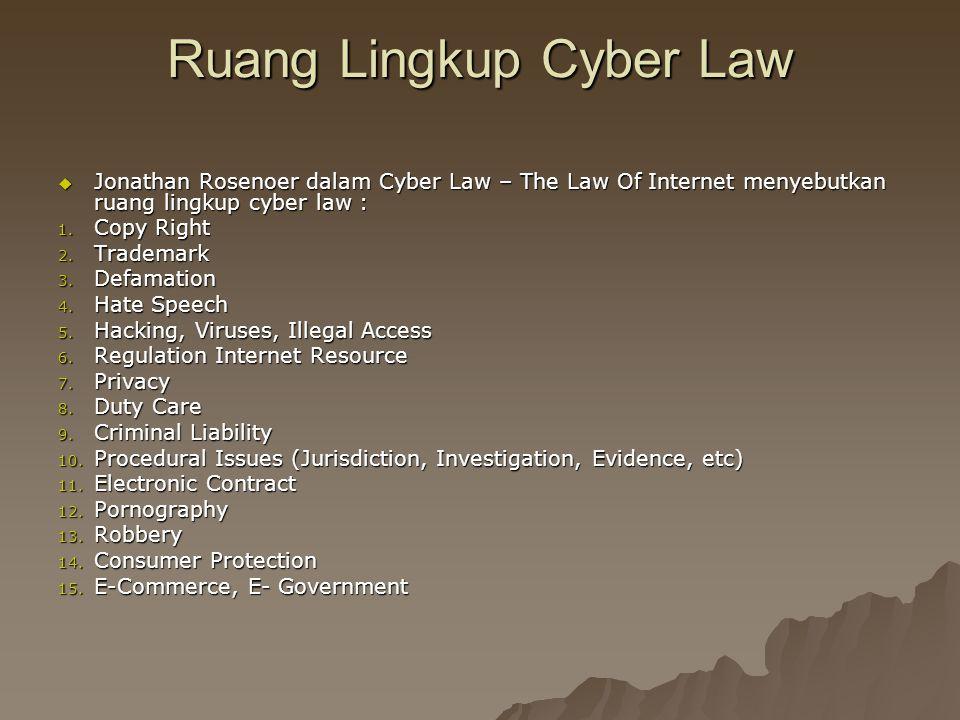 Ruang Lingkup Cyber Law  Jonathan Rosenoer dalam Cyber Law – The Law Of Internet menyebutkan ruang lingkup cyber law : 1. Copy Right 2. Trademark 3.