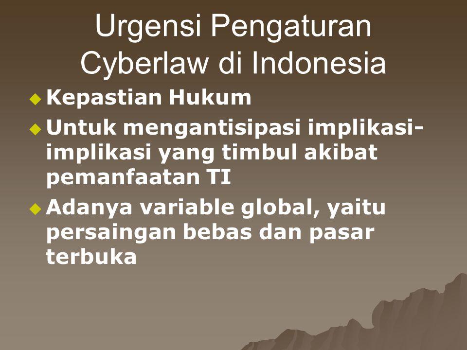 Urgensi Pengaturan Cyberlaw di Indonesia   Kepastian Hukum   Untuk mengantisipasi implikasi- implikasi yang timbul akibat pemanfaatan TI   Adany