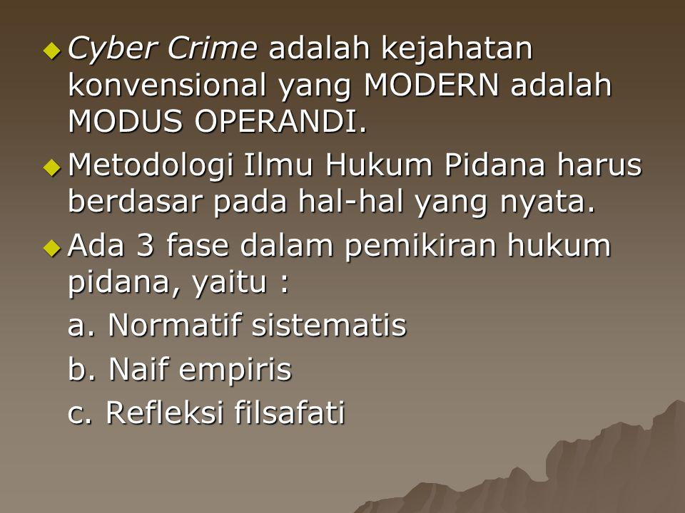  Cyber Crime adalah kejahatan konvensional yang MODERN adalah MODUS OPERANDI.  Metodologi Ilmu Hukum Pidana harus berdasar pada hal-hal yang nyata.