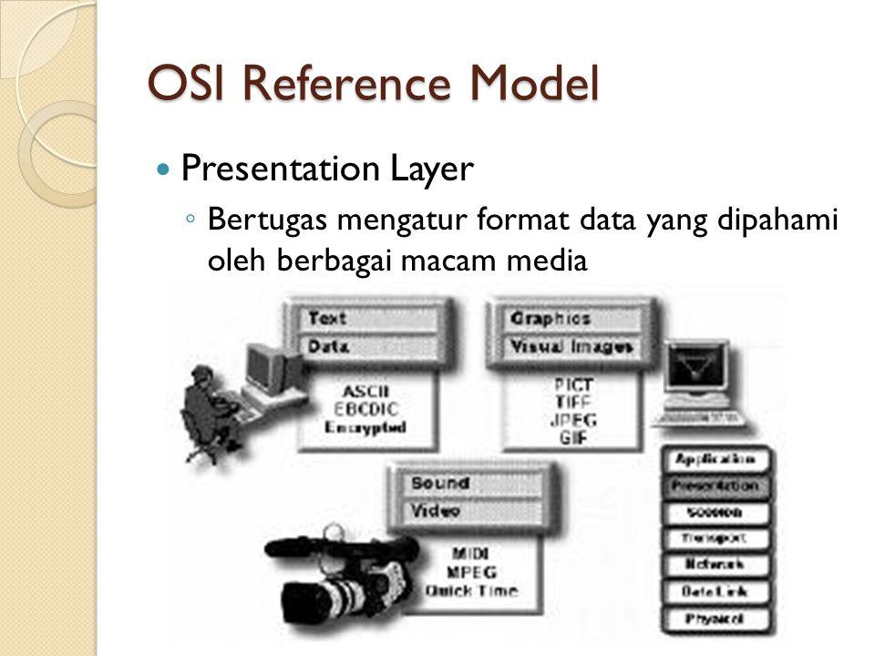 OSI Reference Model Session Layer ◦ Bagaimana memulai, mengontrol dan mengakhiri suatu komunikasi