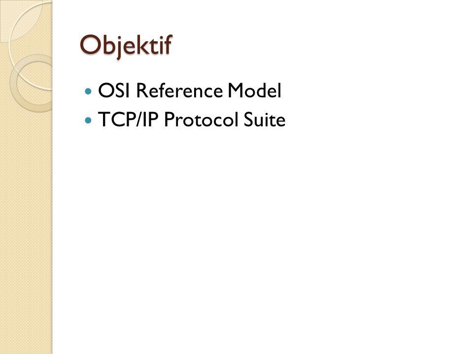 OSI Reference Model Dikembangkan oleh International Organization for Standardization (ISO) pada tahun 1984 Model referensi OSI (Open Systems Interconnection) adalah suatu model konseptual yang terdiri atas tujuh layer, masing-masing layer mempunyai fungsi tertentu